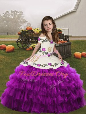 Modern Purple Kids Formal Wear Party and Wedding Party with Embroidery and Ruffled Layers Straps Sleeveless Lace Up