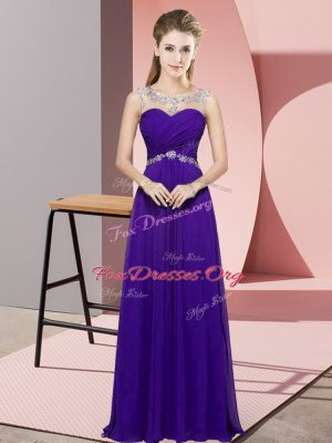 Luxurious Purple Sleeveless Chiffon Backless Prom Dresses for Prom and Party and Military Ball