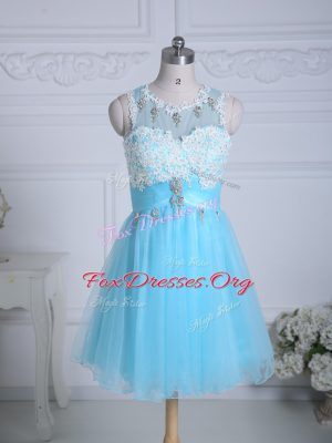 Lovely Mini Length Zipper Cocktail Dress Aqua Blue for Prom and Party and Military Ball with Lace and Appliques