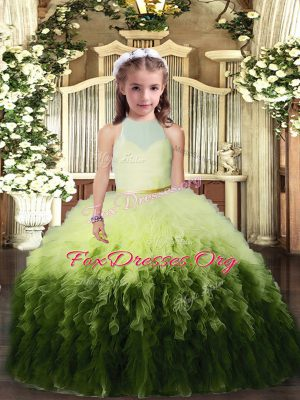 Multi-color Backless High-neck Ruffles Little Girl Pageant Gowns Tulle Sleeveless