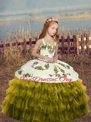 Attractive Organza Straps Sleeveless Lace Up Embroidery and Ruffles Kids Formal Wear in Olive Green