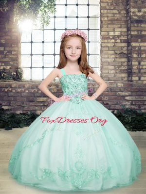 High Class Apple Green Ball Gowns Straps Sleeveless Tulle Floor Length Lace Up Beading Little Girls Pageant Gowns