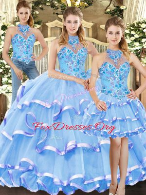 Pretty Blue Three Pieces Embroidery and Ruffled Layers Quince Ball Gowns Lace Up Organza Sleeveless Floor Length