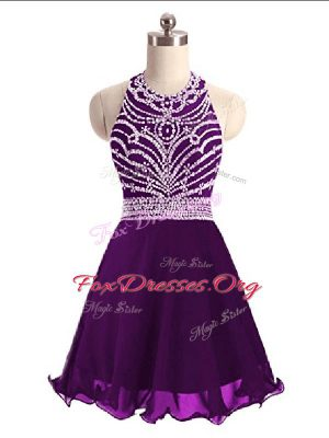 Sleeveless Chiffon Mini Length Lace Up Cocktail Dresses in Eggplant Purple with Beading