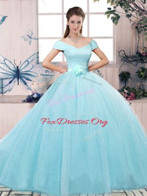 Unique Aqua Blue Tulle Lace Up Off The Shoulder Short Sleeves Floor Length Quinceanera Dresses Lace and Hand Made Flower