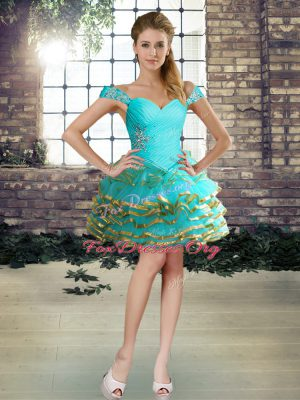 Luxury Aqua Blue Organza Lace Up Off The Shoulder Sleeveless Mini Length Cocktail Dresses Beading and Ruffled Layers