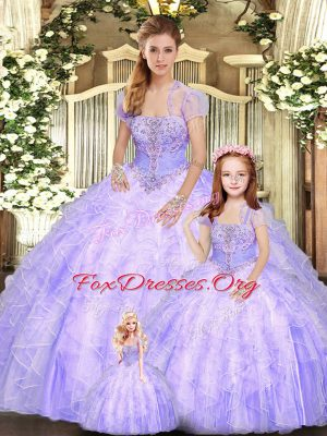 Fantastic Lavender Sleeveless Tulle Lace Up Sweet 16 Dress for Military Ball and Sweet 16 and Quinceanera