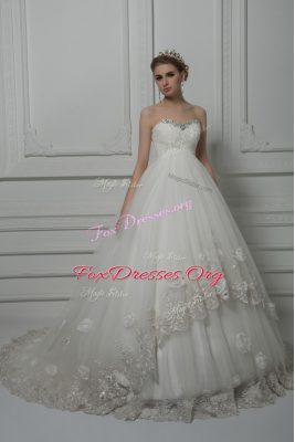 Admirable Sleeveless Tulle Court Train Lace Up Wedding Dress in White with Beading and Lace and Hand Made Flower