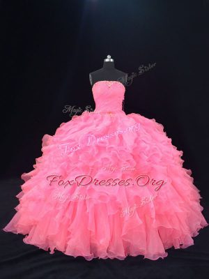 Lovely Pink Sleeveless Floor Length Beading and Ruffles Lace Up Ball Gown Prom Dress