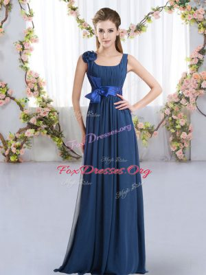 Colorful Navy Blue Sleeveless Floor Length Belt and Hand Made Flower Zipper Wedding Party Dress