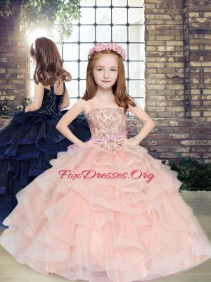 Classical Floor Length Ball Gowns Sleeveless Peach Custom Made Pageant Dress Lace Up