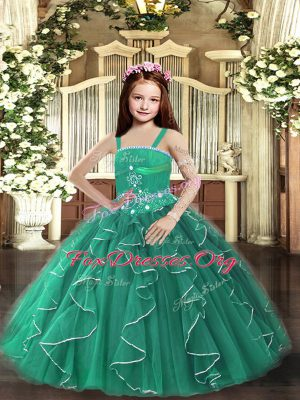 Sleeveless Floor Length Beading and Ruffles Lace Up Pageant Dress for Teens with Dark Green