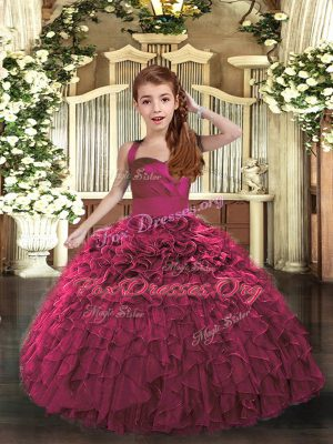 Fuchsia Straps Neckline Ruffles Kids Formal Wear Sleeveless Lace Up