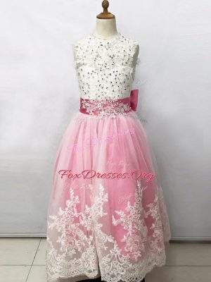 Exceptional Pink And White Empire Beading and Lace and Bowknot Toddler Flower Girl Dress Lace Up Tulle Sleeveless Floor Length