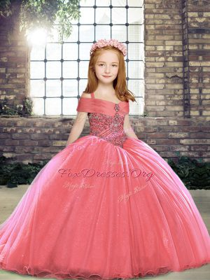 Watermelon Red Little Girl Pageant Gowns Tulle Brush Train Sleeveless Beading