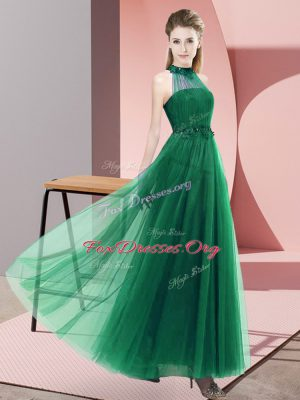 New Style Dark Green Lace Up Bridesmaid Dress Beading and Appliques Sleeveless Floor Length