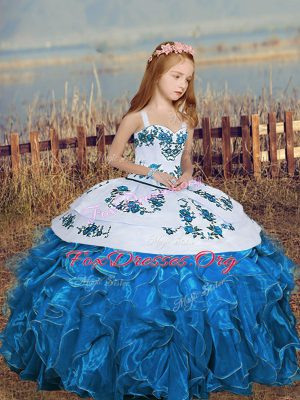 Blue Straps Neckline Embroidery and Ruffles Kids Formal Wear Sleeveless