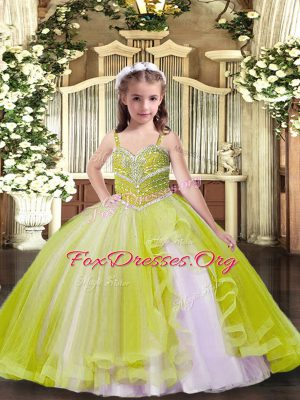 Yellow Green Tulle Lace Up Straps Sleeveless Floor Length Kids Formal Wear Beading