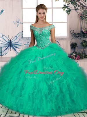 Stylish Off The Shoulder Sleeveless Brush Train Lace Up Quince Ball Gowns Turquoise Tulle