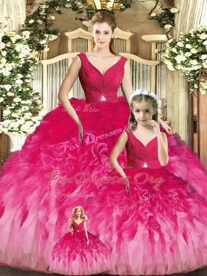 Cheap Multi-color Backless Ball Gown Prom Dress Beading and Ruffles Sleeveless Floor Length