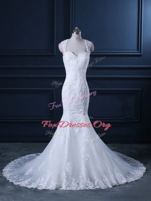 Modern White Mermaid Tulle Straps Sleeveless Beading and Lace Backless Wedding Gowns Brush Train