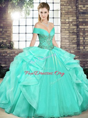 Unique Apple Green 15 Quinceanera Dress Military Ball and Sweet 16 and Quinceanera with Beading and Ruffles Off The Shoulder Sleeveless Lace Up