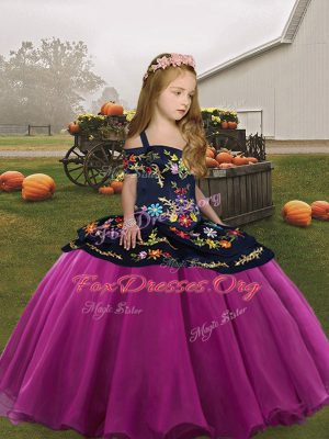Custom Made Sleeveless Organza Floor Length Side Zipper Little Girls Pageant Dress in Fuchsia with Embroidery