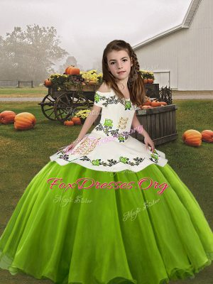 Green Ball Gowns Straps Sleeveless Organza Floor Length Lace Up Embroidery Little Girls Pageant Gowns