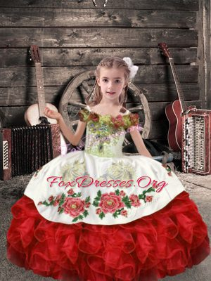 White And Red Sleeveless Organza Lace Up Kids Formal Wear for Wedding Party
