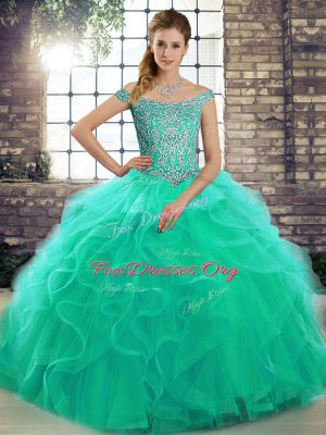 Eye-catching Tulle Off The Shoulder Sleeveless Brush Train Lace Up Beading and Ruffles Sweet 16 Dresses in Turquoise