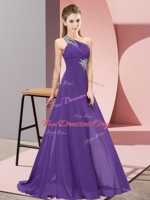 Traditional Empire Evening Dress Purple One Shoulder Chiffon Sleeveless Floor Length Lace Up