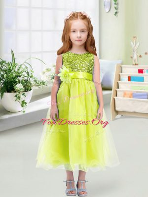 Chic Yellow Green Flower Girl Dresses Wedding Party with Sequins and Hand Made Flower Scoop Sleeveless Zipper