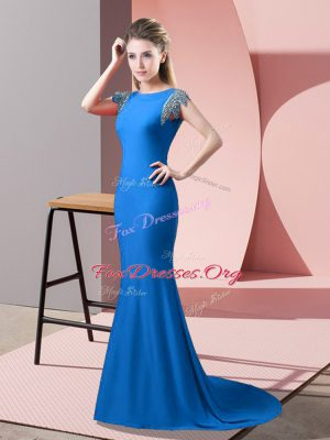 Blue Evening Dress Elastic Woven Satin Brush Train Short Sleeves Beading