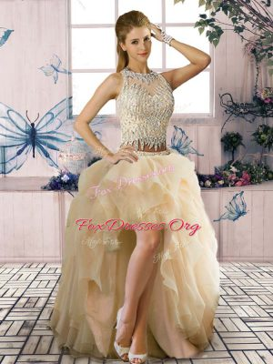 Customized Champagne Clasp Handle Homecoming Dress Beading and Ruffles Sleeveless High Low