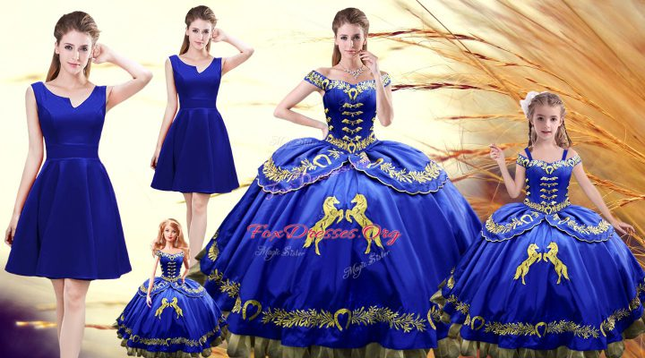Attractive Floor Length Lace Up Sweet 16 Dresses Royal Blue for Sweet 16 and Quinceanera with Embroidery