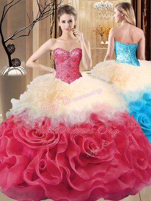Enchanting Floor Length Red Ball Gown Prom Dress Fabric With Rolling Flowers Sleeveless Beading and Ruffles