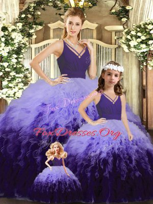 Stunning Multi-color Ball Gowns Ruffles and Ruching Quinceanera Dresses Backless Tulle Sleeveless Floor Length
