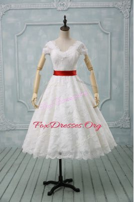 Ball Gowns Wedding Gown White V-neck Lace Short Sleeves Tea Length Zipper