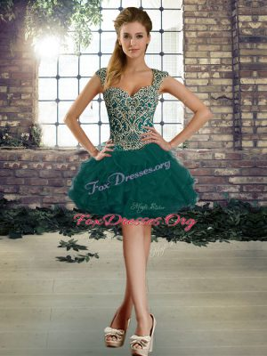 Mini Length Lace Up Prom Gown Dark Green for Prom and Party with Beading and Ruffles
