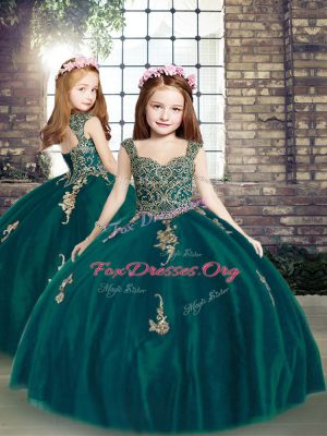 Perfect Sleeveless Appliques Lace Up Child Pageant Dress