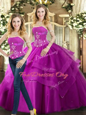 Floor Length Ball Gowns Sleeveless Fuchsia Sweet 16 Dresses Lace Up