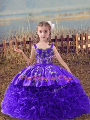 Purple Ball Gowns Straps Sleeveless Fabric With Rolling Flowers Sweep Train Lace Up Embroidery Custom Made Pageant Dress