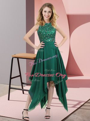 Dark Green Prom and Party with Beading and Sequins High-neck Sleeveless Zipper