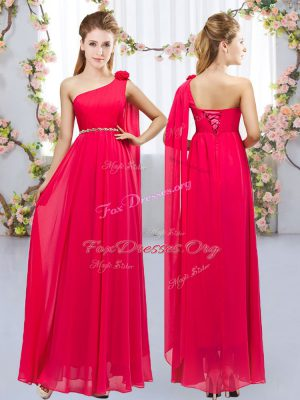 Cute Sleeveless Floor Length Beading and Hand Made Flower Lace Up Wedding Party Dress with Red