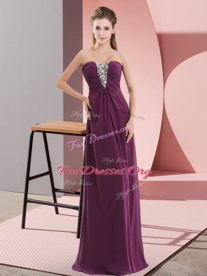 Elegant Dark Purple Zipper Sweetheart Beading Prom Dresses Chiffon Sleeveless