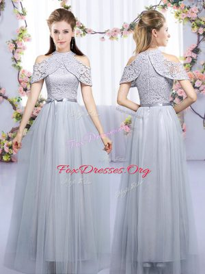 Unique Grey Empire Tulle High-neck Sleeveless Lace and Belt Floor Length Zipper Dama Dress for Quinceanera