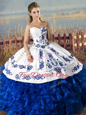 Sleeveless Organza Floor Length Lace Up Quinceanera Gowns in Blue And White with Embroidery and Ruffles