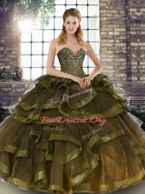 Spectacular Floor Length Olive Green Ball Gown Prom Dress Sweetheart Sleeveless Lace Up