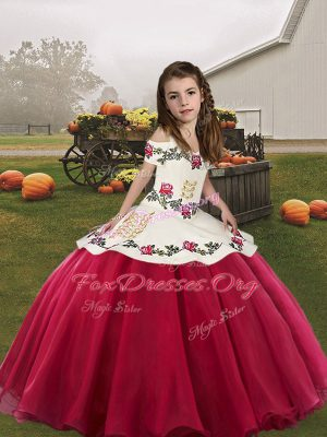 Coral Red Sleeveless Organza Lace Up Kids Pageant Dress for Party and Wedding Party