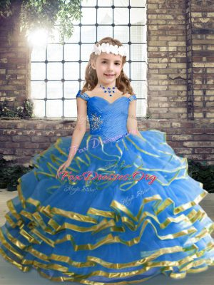 Beauteous Sleeveless Lace Up Floor Length Beading and Ruffled Layers and Ruching Child Pageant Dress